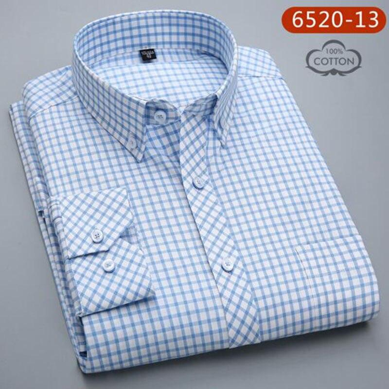 Hommes à manches longues Oxford pur coton respirant confortable simple boutonnage chemises Camisa, imprimé contraste couleur tissu décontracté