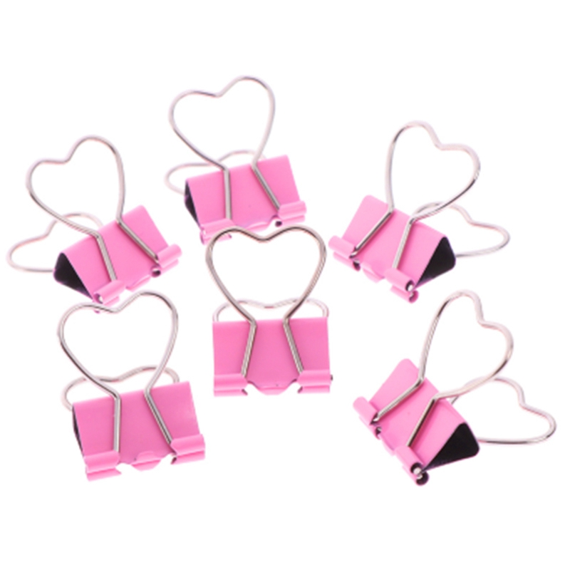 100Pcs Pink Clip Heart Hollow Out Metal Binder Clips Notes Letter Paper Clip Office Supplies