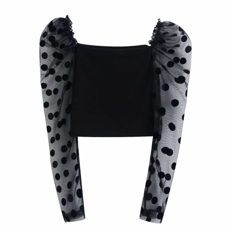 New Women Sexy Transparent Mesh Sleeve Patchwork Knitting Short Shirt Blouse Women Polka Dot Puff Sleeve Blusas Chic Tops LS6167