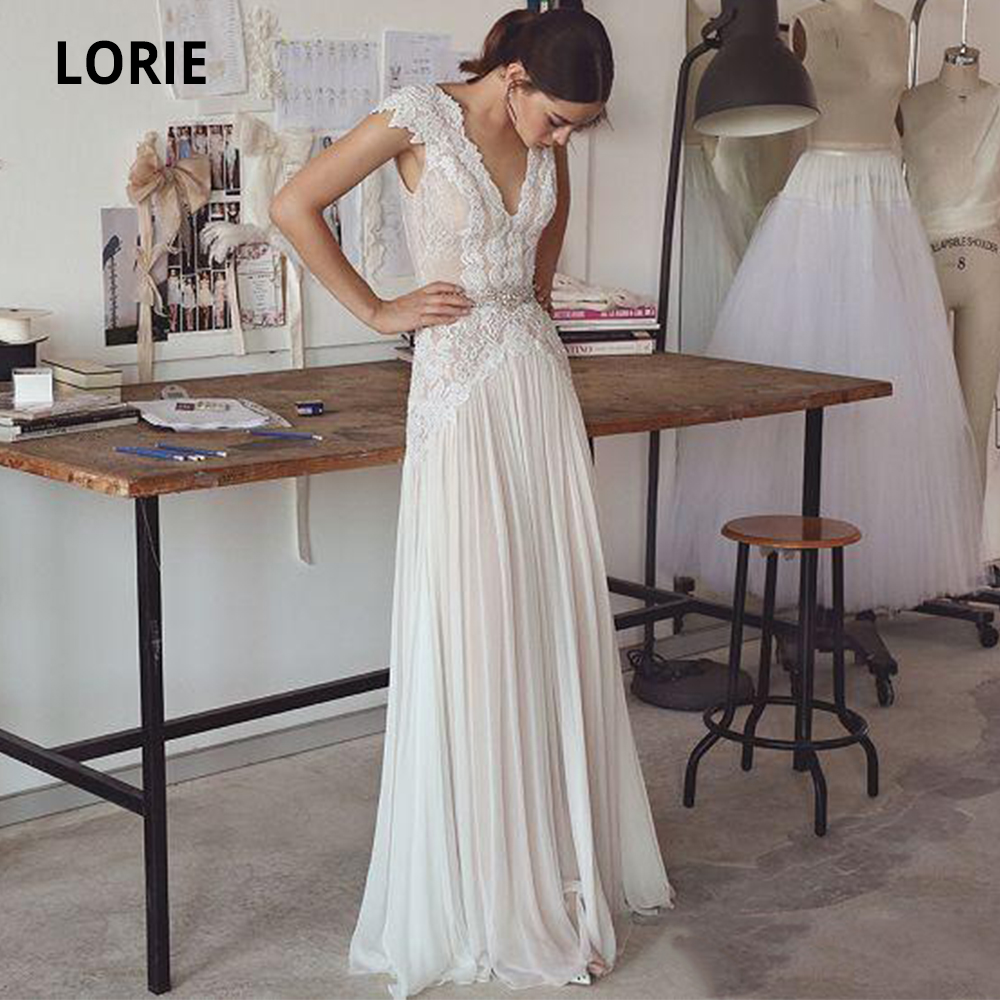 LORIE Wedding Dresses Boho 2019 Bohemian Wedding Gowns With Cap Sleeves V Neck Open Back Elegant A Line Bridal Gowns Plus Size