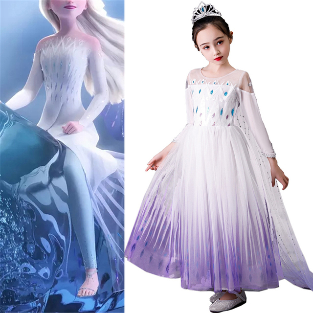 Kızın prenses dondurulmuş kar kraliçesi Elsa parti Cosplay kostüm