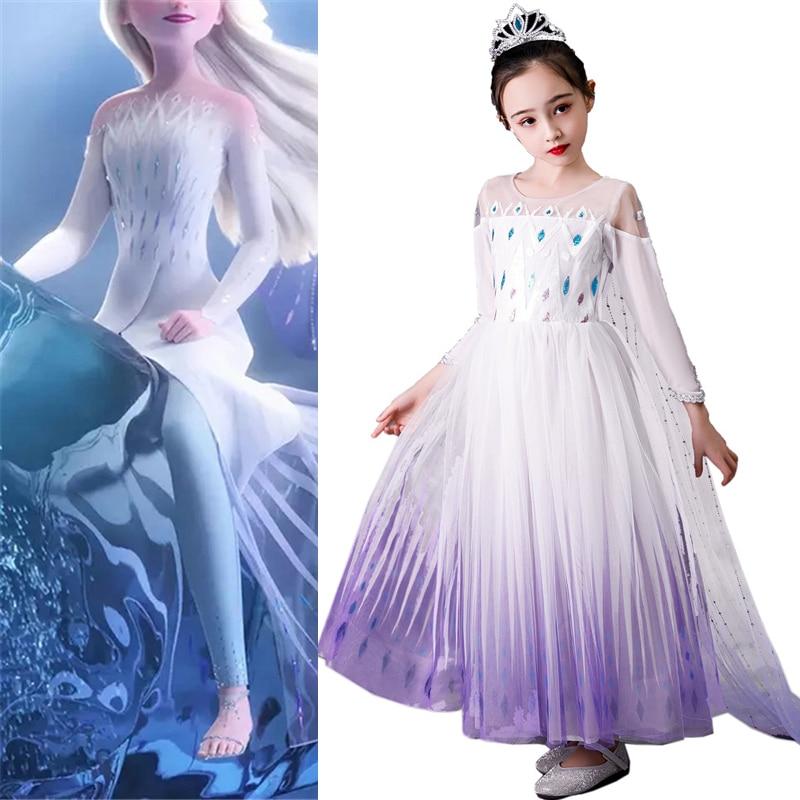 Menina princesa congelado neve rainha elsa festa cosplay traje vestidoFantasias p/ meninas   -