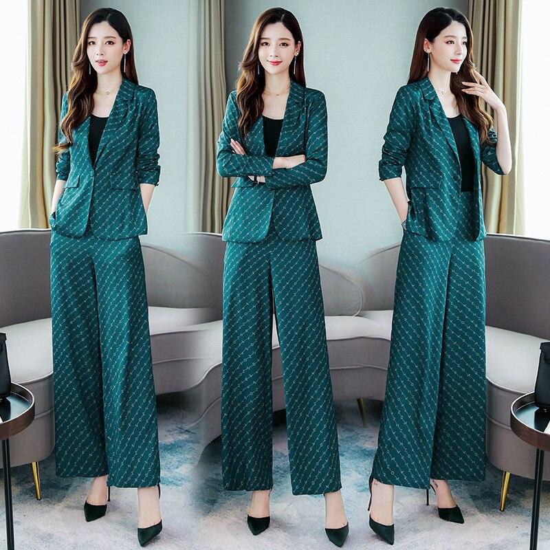 Korean Version Of Temperament Women's Pants Suit Two-piece New Autumn Slim Printed Professional Blazer Casual Wide Leg Pants
