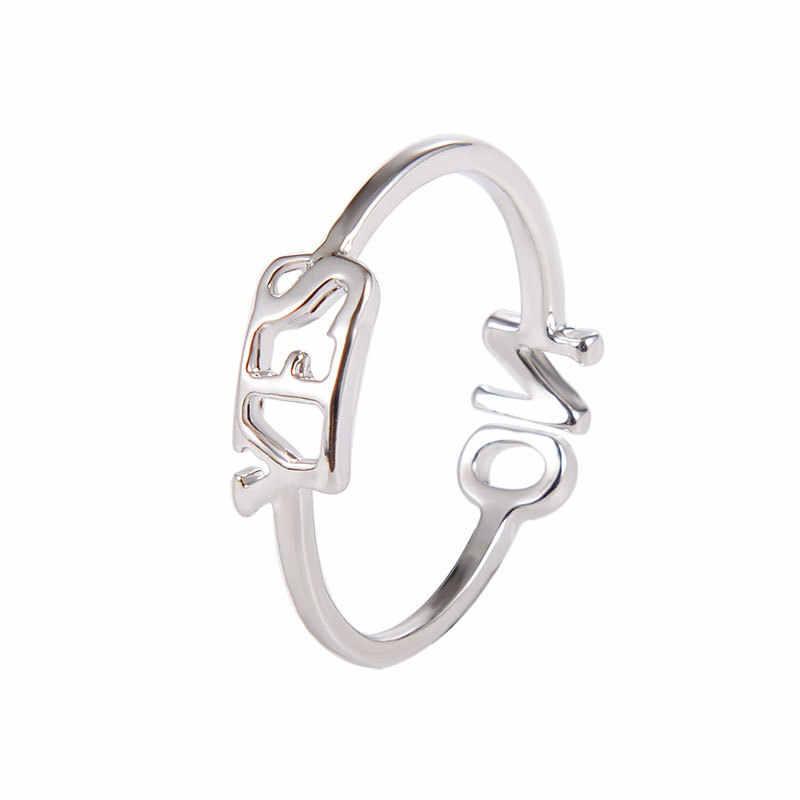 Fashion Adjustable Cincin Tiga Warna Cincin Wanita Ya Tidak Ada Huruf Alfabet Bahasa Inggris Pembukaan Cincin Desain Disesuaikan Cincin