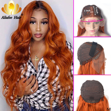 Blonde Wig Human-Hair-Wigs Ginger Orange Body-Wave Colored Aliafee Ombre Lace-Part Malaysia
