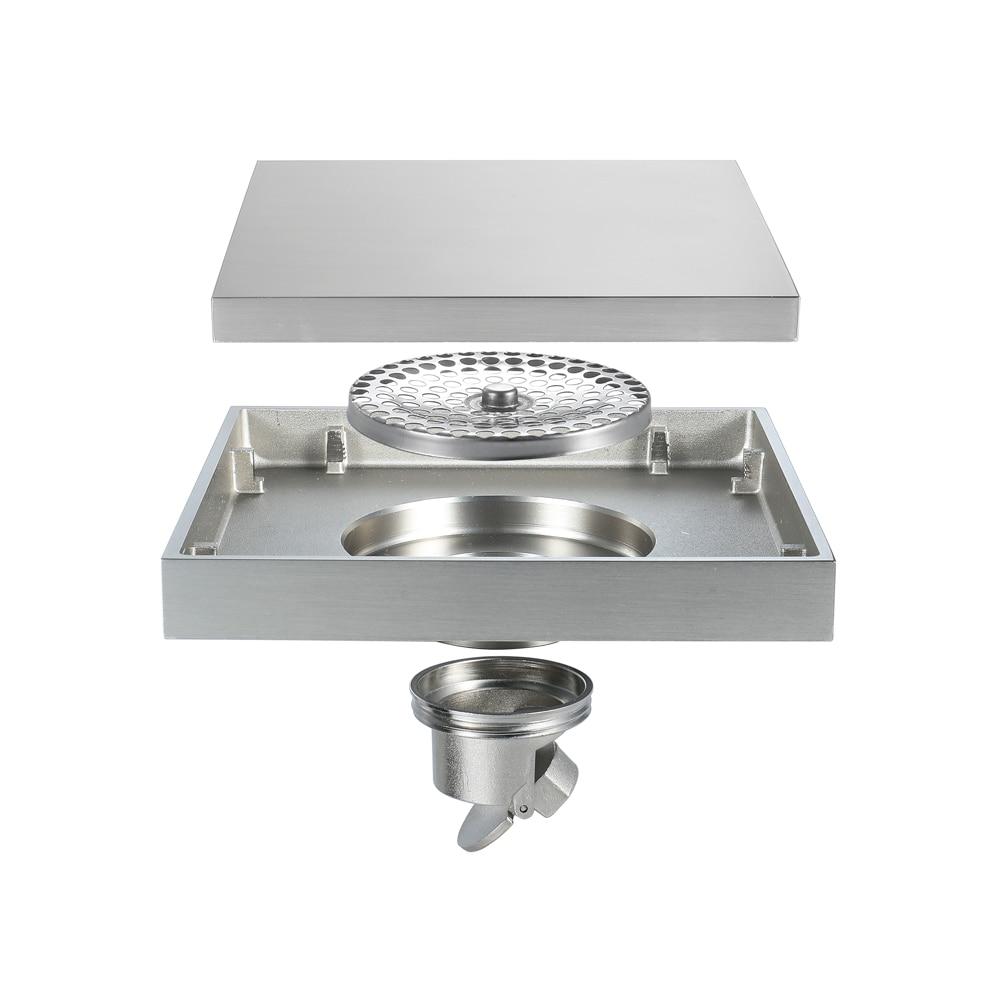 15*15cm brosse Nickel laiton bouchon pour évier bain crépine sol Drain douche Drain Siphon Anti odeur salle de bain toilette cuisine balcon - 6