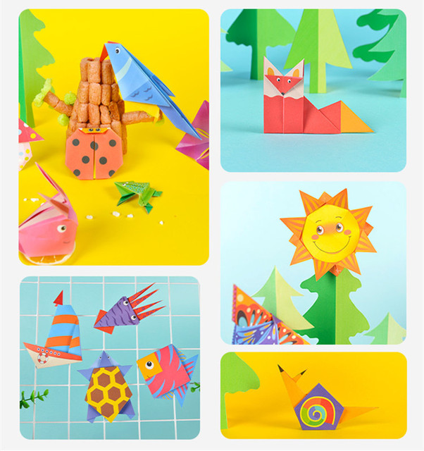 Cartoon Origami Paper Colorful Book Children Toy Animal Pattern 3D Puzzle Handmade DIY Craft Papers Educational Toys 108 PCS 2