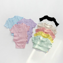 7638 Newborn Baby Clothes Korean Summer Baby Boy Romper Candy Color Baby Girl One Piece Clothes Cotton Toddler Clothes Onesies