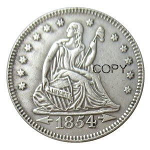 USA 1854 Seated Liberty Quarter Dollars Silver Plated 25 Cents Copy Coin(China)