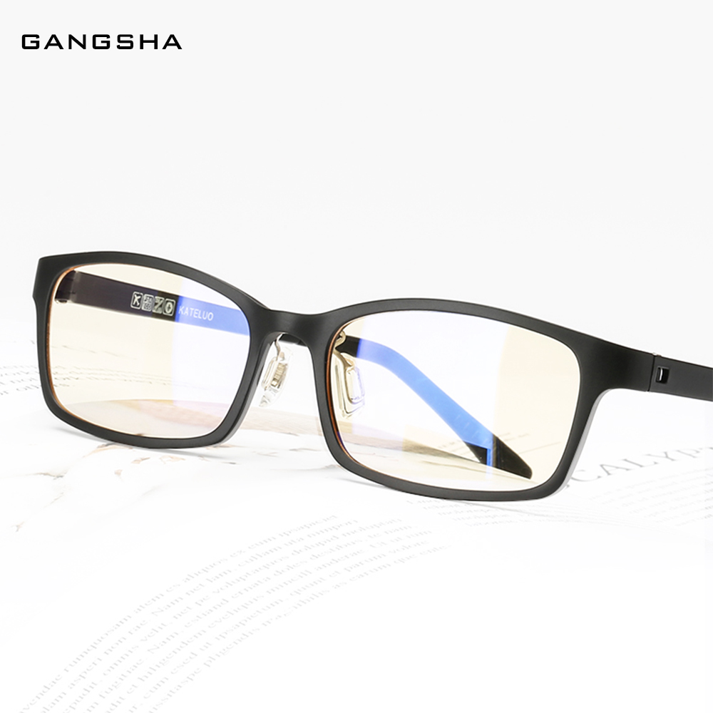 GANGSHA Computer Glasses Frame Women ULTEM Optical Ultralight Square Eyeglass Frame Clear Blue Light Glasses Male Eyewear 1310