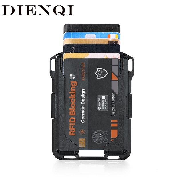 DIENQI Rfid Metal Credit Card Holder Men Tactical lanyards id badge holder Credential Cardholder Case Smart Minimalist Wallet 1