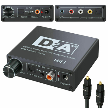 Digital To Analog RCA L/R 3.5mm Audio Converter Optical Coaxial In And RCA Out Digital Analog Converters With USB Power Cable