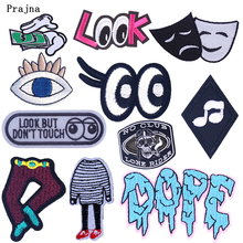 Prajna Black And White Eyes Patch Stripes Iron On Patches For Cloth Badge Embroidery Stickers Apparel Accessory DIY Hook Loop F