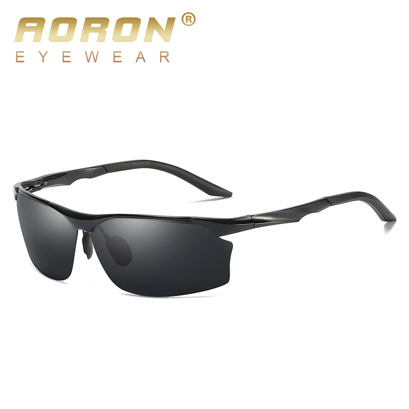 AORON Men's Sports Polarized Sunglasses Aluminum Frame Outdoor Driving Sunglasses UV400 100%Anti-UV Glasses