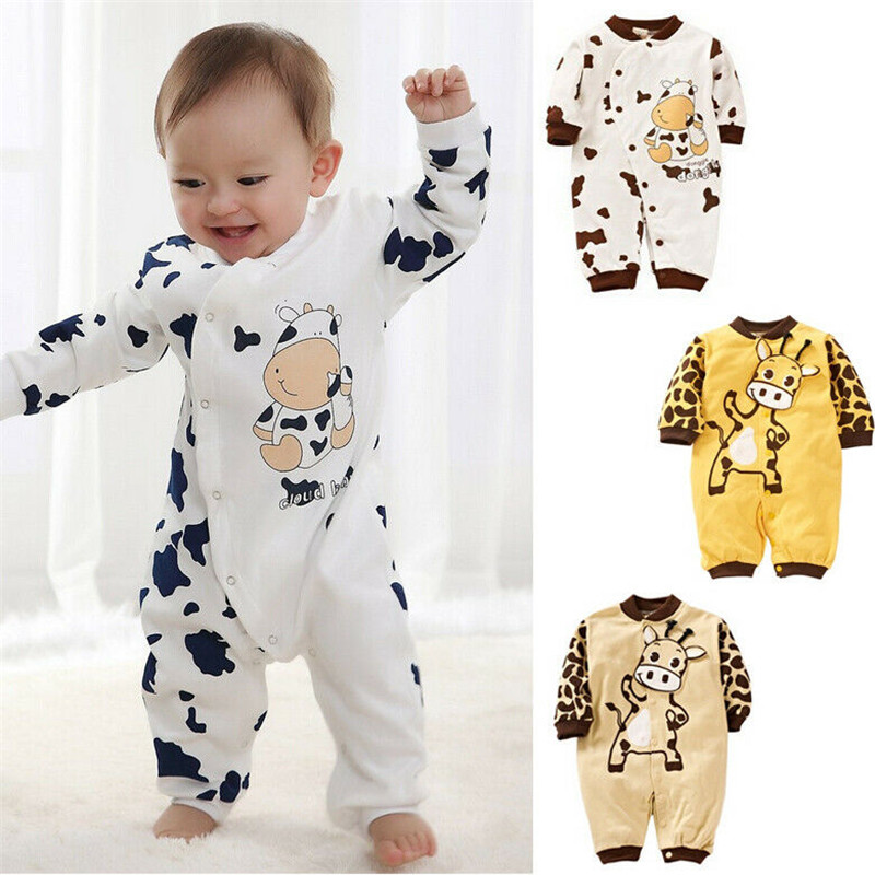 0-24months Unisex Newborn Baby   Rompers   Long Sleeve Baby Girls   Rompers   2019 Autumn Dairy Cow Print Baby Boys Jumpsuits Clothing