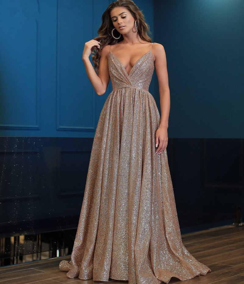 Backless   Prom     Dress   2019 A-line Spaghetti Straps Sequins Sparkle Sexy Long   Prom   Gown Evening   Dresses   Robe De Soiree
