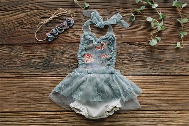 Jane Z Ann dziewczynka księżniczka koronki Z powrotem sukienka noworodka zdjęcie-odzież studio strzelanie rekwizyty 2 kolory sukienka + z pałąkiem na głowę