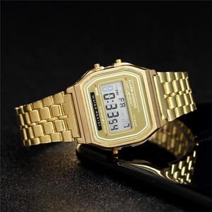 Image 1 - Nữ Sang Trọng Hoa Hồng Vàng Đồng Hồ Nam Dây Silicon Thời Trang Nữ Đèn LED Kỹ Thuật Số Đồng Hồ Casual Nữ Đồng Hồ Điện Tử Reloj Mujer 2020