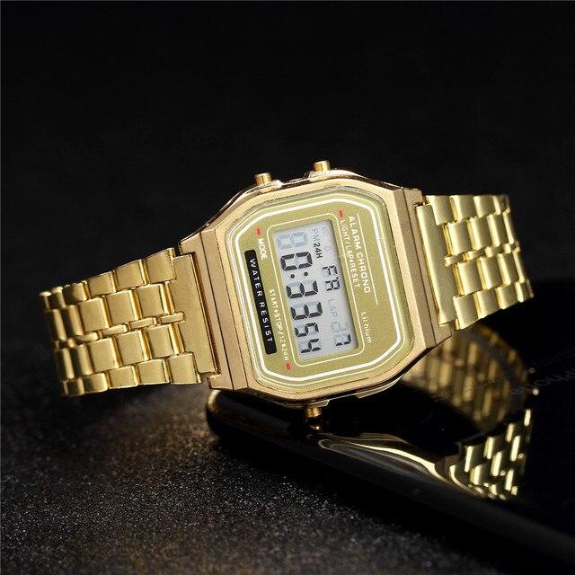Nữ Sang Trọng Hoa Hồng Vàng Đồng Hồ Nam Dây Silicon Thời Trang Nữ Đèn LED Kỹ Thuật Số Đồng Hồ Casual Nữ Đồng Hồ Điện Tử Reloj Mujer 2020