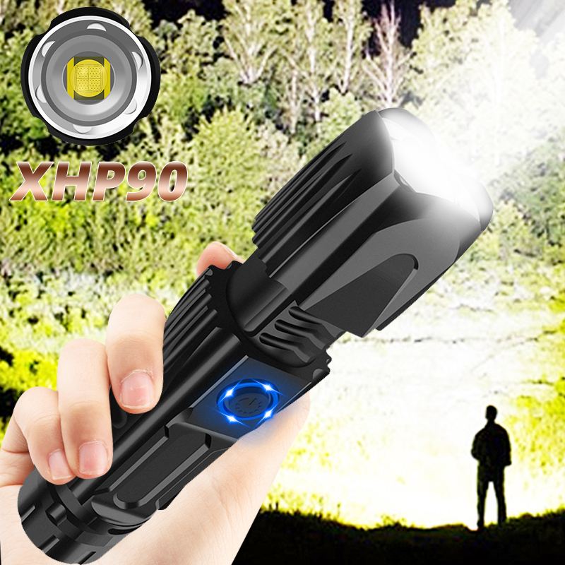 Linterna LED recargable de alta potencia xhp70.2, linterna táctica XHP90, 18650 o 26650, lámpara de caza para acampar|Linternas y antorchas|   - AliExpress
