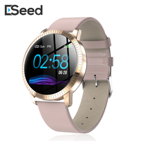 ESEED CF18 women smart watch 1.2 inch IP67 smartwatch leather strap Heart Rate Blood Pressure fitness tracker for samsung huawei