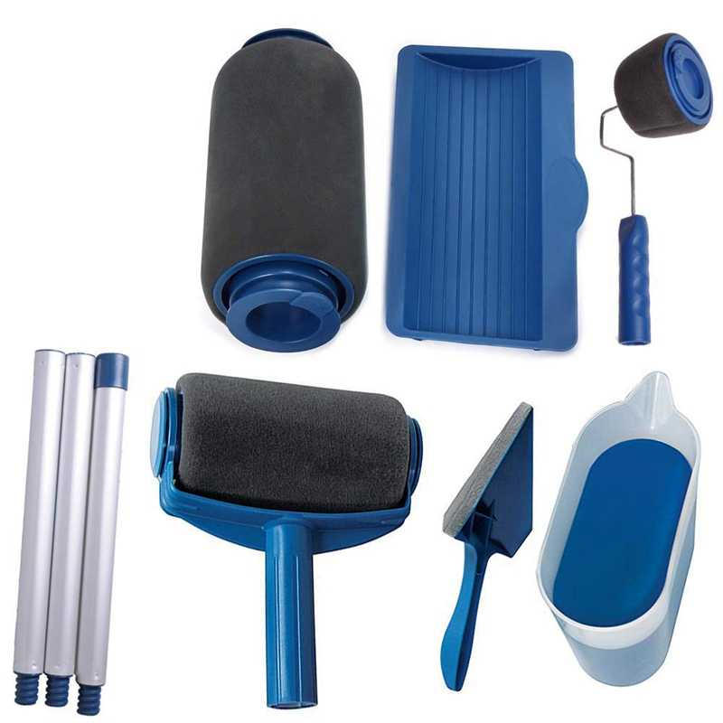 8 Piece Set Paint Roller Brush Cover Set 9-Inch Wall Paint Roller Brush Painting Handle Tool Kit for Painting Walls and Ceilings for Home Office Room