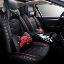 kalaisike Leather plus Flax Universal Car Seat covers for Mitsubishi all model pajero sport ASX outlander lancer pajero dazzle a