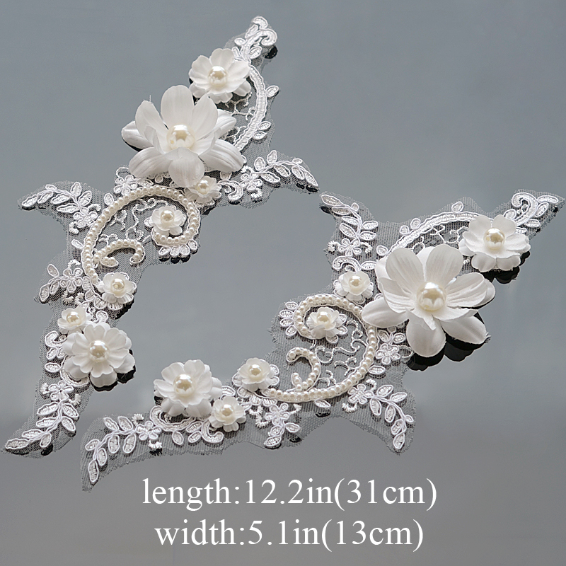 1 Pair Flower Motif Lace Applique Embroidery Crafts Guipure Sewing Pearl Trim Wedding