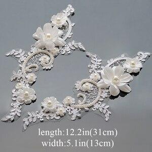 Paire d'appliques en dentelle à motifs de fleurs | 1 paire, artisanat de broderie, Guipure, garniture de perle à coudre pour mariage