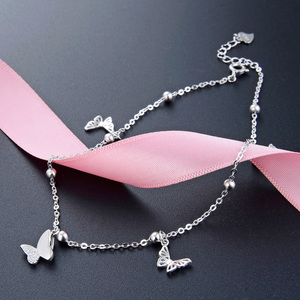 Image 2 - Butterfly Foot Chain foot leg bracelet silver 925 Cute Silver Anklet Jewelry S925 Anklet Bracelet Adjustable Length Birthday Gif