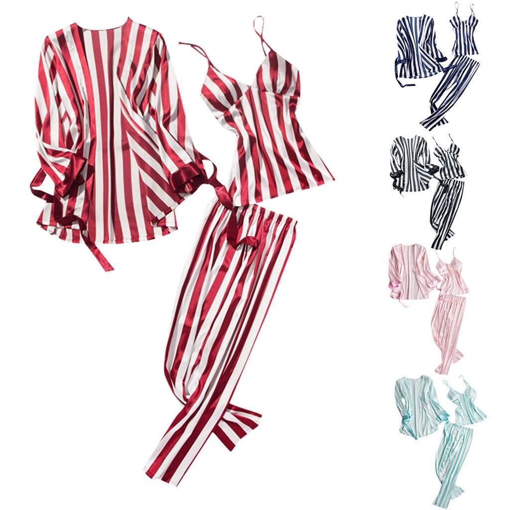 Women's Sleepwear Sexy Summer fashion causal Womens Fashion Striped Pajamas Sleepwear Long Trousers Nightwear 3PC Set  Y725