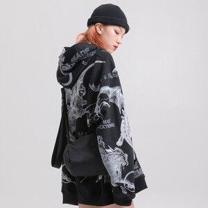 Image 5 - 2019 Streetwear mężczyzna Hip Hop bluza z kapturem bluza starożytne zwierzęta diabeł Harajuku bluzy z kapturem sweter niebieski luźne ubrania bawełna jesień