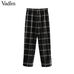 Image 3 - Vadim damskie stylowe kratki proste stylowe spodnie kieszenie w pasie kobiece dorywczo eleganckie spodnie do kostek mujer KB202