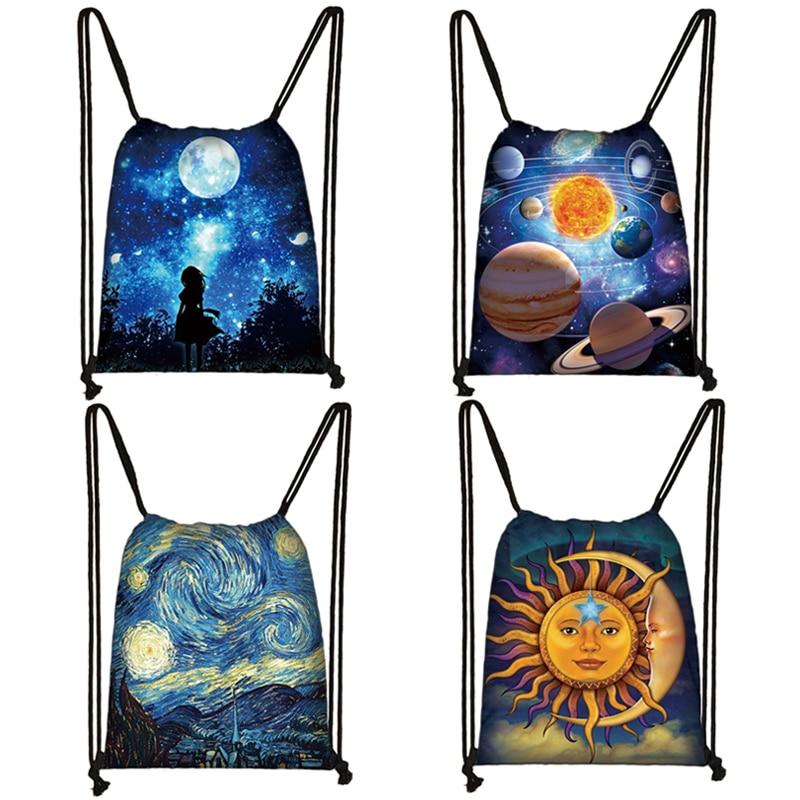 Galaxy / Starry Night Print Drawstring Bag Women Travel Bag Fashion Teenager Girls Canvas Softback Backpack Female Storage Bag