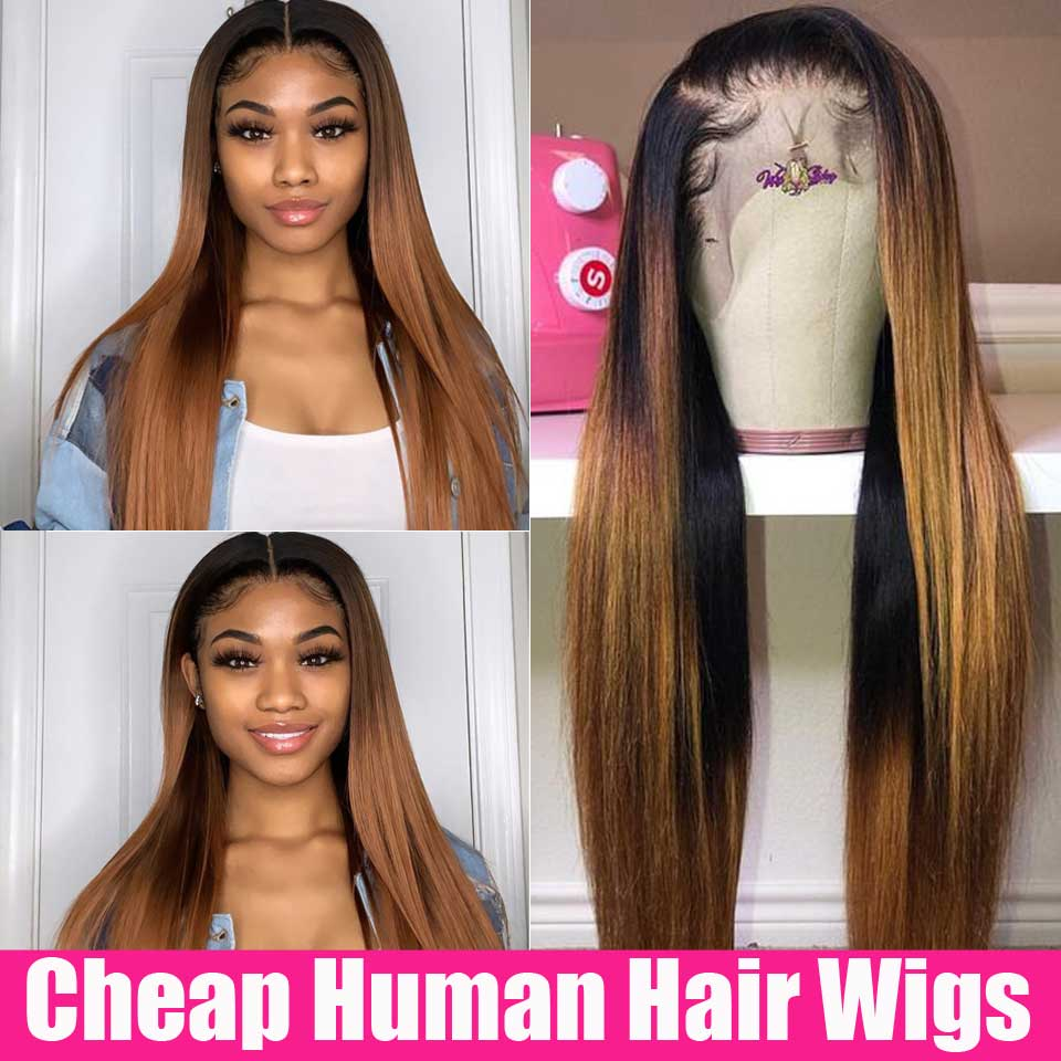 4x4 Closure Wig Ombre Human Hair Wig Honey Blonde Lace Front Human Hair Wigs Highlight 13x4 Brazilian Straight Lace Frontal Wig