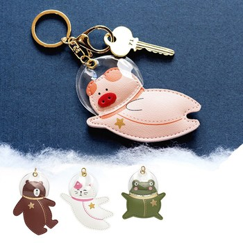 New Astronaut Creative Keychains Top Grade Leather Car Keychain Student Girl Lovely Cartoon Bag Decoration Gift Key Ring Bt21 image