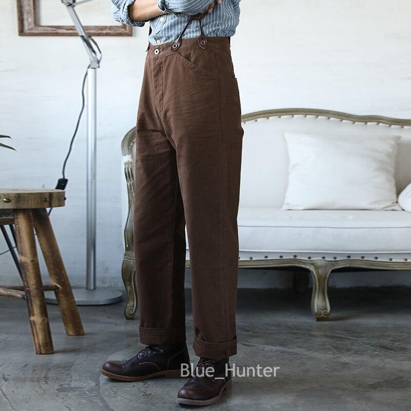 Red Tornado Retro Casual Chino Vintage Men Pants High Rise Straight Leg Trousers