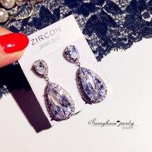 Big Water Drop Bling Zircon Stone 925 Sterling Silver Color Stud Earrings for Women Fashion Jewelry Korean Earrings big bling square zircon stone silver stud earrings for women korean earrings fashion jewelry 925 silver