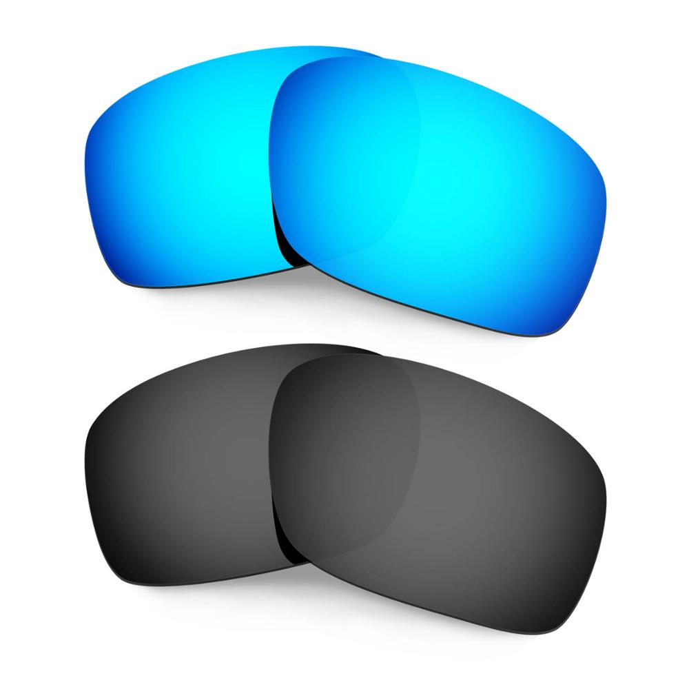 HKUCO For Scalpel Sunglasses Replacement Polarized Lenses 2 Pairs - Blue&Black