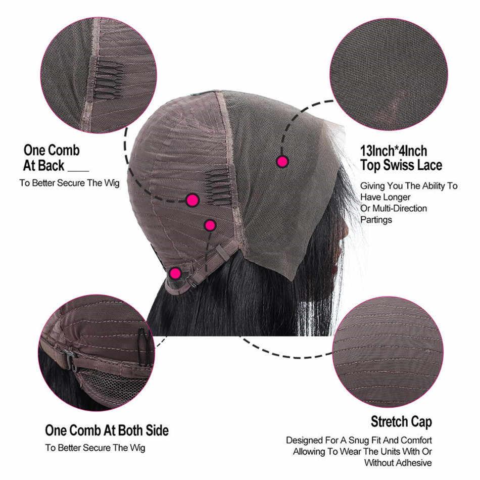Liddy koronki przodu peruki z ludzkich włosów prosto 10-26 Cal 13x4 150% gęstości nie remy 100% ludzki włos koronki przodu peruki Natural Color