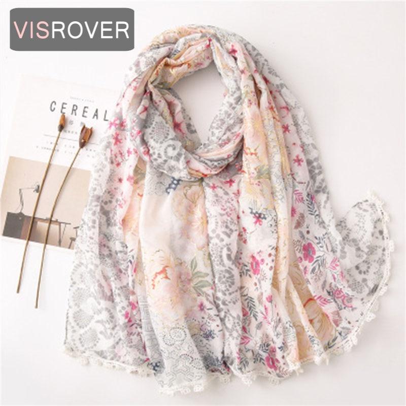 VISROVER 2020 Foil Floral Printing Viscose Summer Scarf Hemming Edge Fashion Beach Wraps Spring Shawls Hijab Gift Wholesales