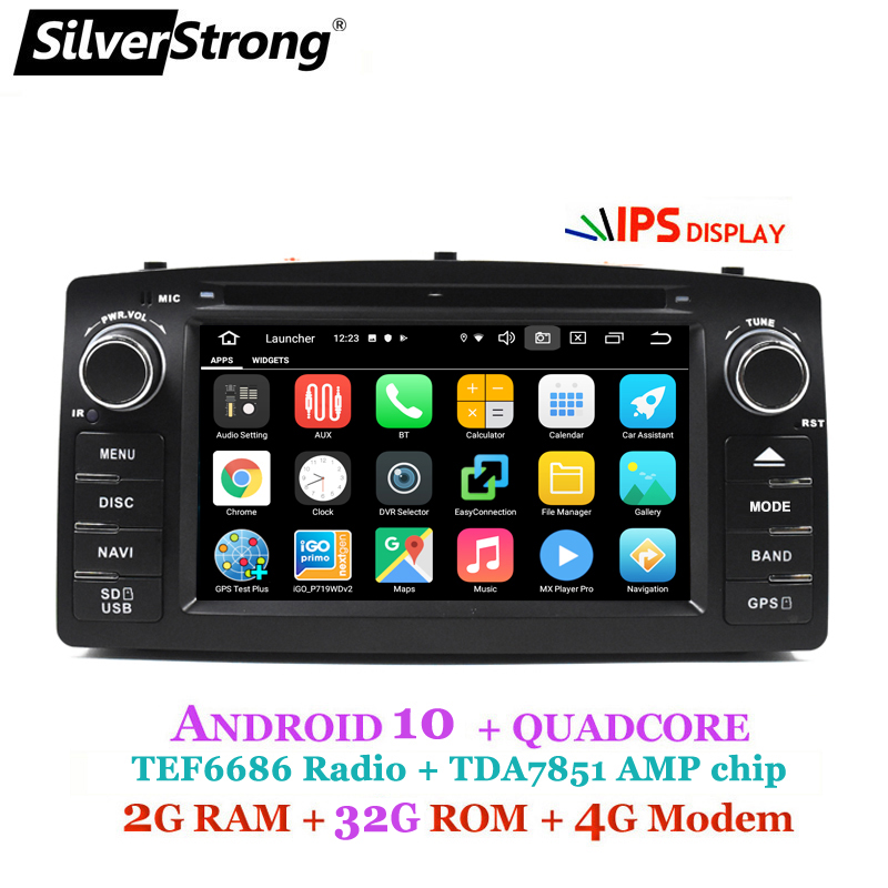 4G Android 10 COROLLA E120 Car DVD GPS For TOYOTA corolla ex Universal radio SilverStrong 2din Navigation android DVD(Hong Kong,China)