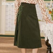 INMAN Winter Retro Art High Waist Corduroy A line Bow Temperamental Women's Skirt
