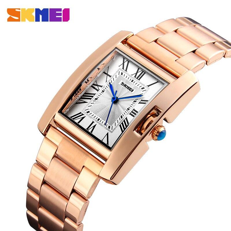 SKMEI Casual Women Quartz Watch Elegant Fashion Watches 3Bar Waterproof Stainless Steel Strap Relogio Feminino 1284 Rose Gold
