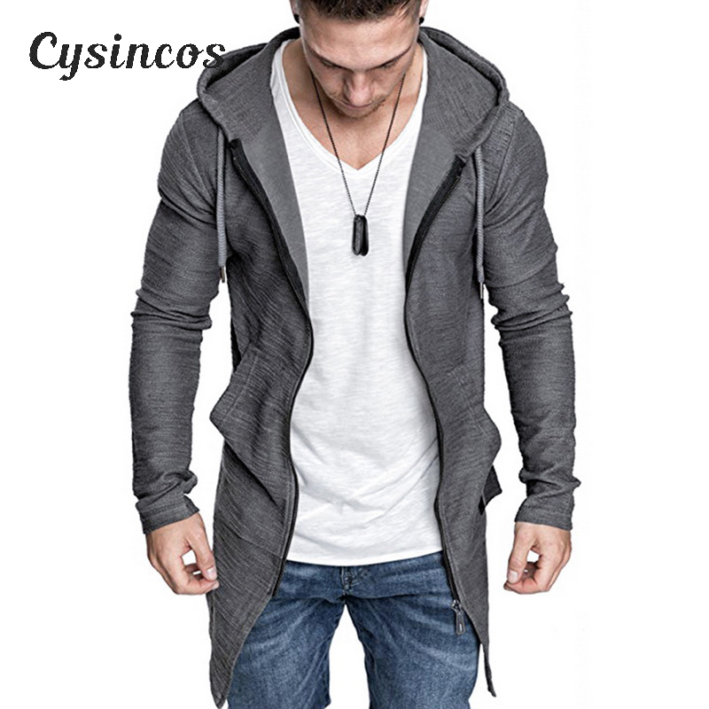 CYSINCOS Sweater Jacket Cardigan Longline Slim-Fit Zipper Front Men's Open with Hooded title=