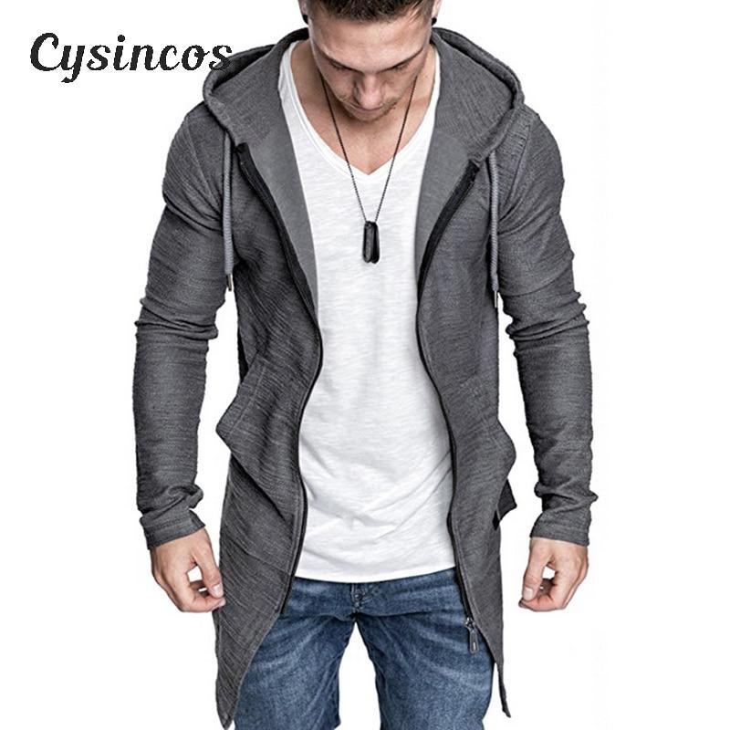 CYSINCOS Men's Long Cardigan Sweater Jacket Hooded Zipper Slim Fit Open Front Longline Cardigans With Pockets Men Sweater Jacket
