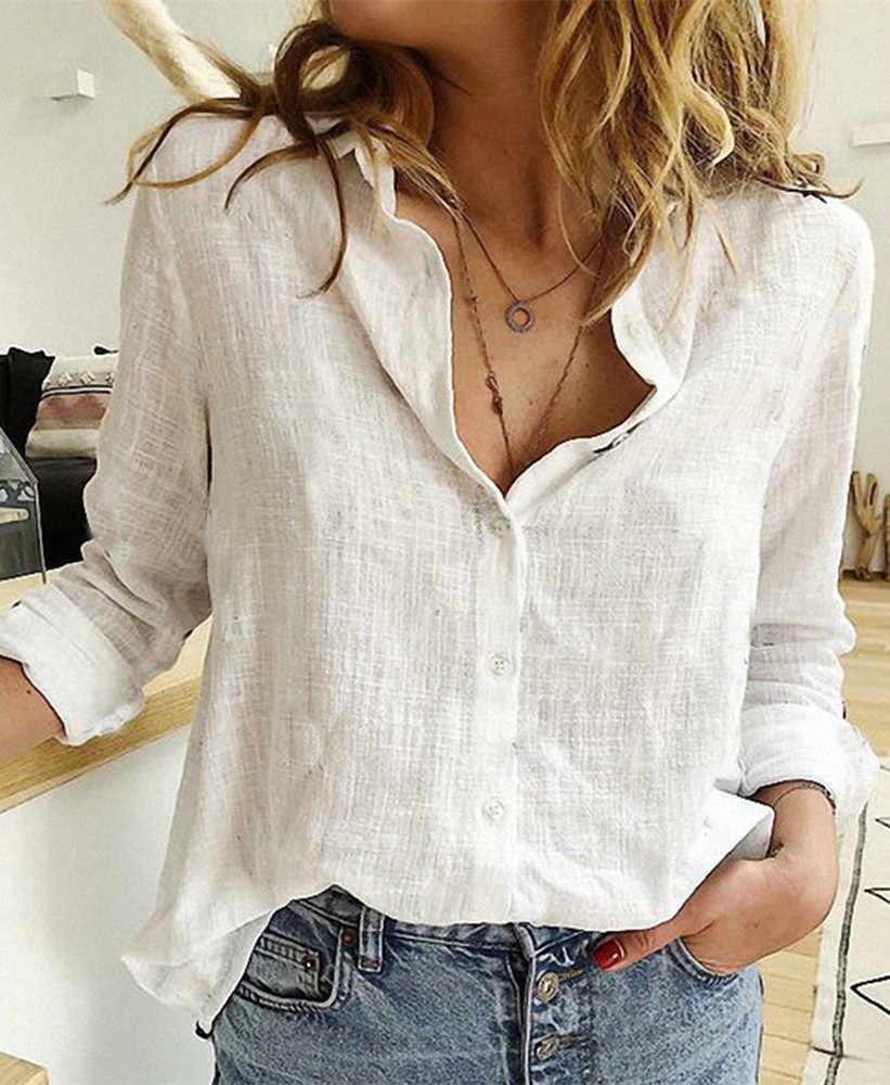 Bayan bluzlar İlkbahar sonbahar üstleri eğlence beyaz gömlek düğmesi V boyun hırka üst gevşek uzun kollu pamuk keten gömlek Blusas