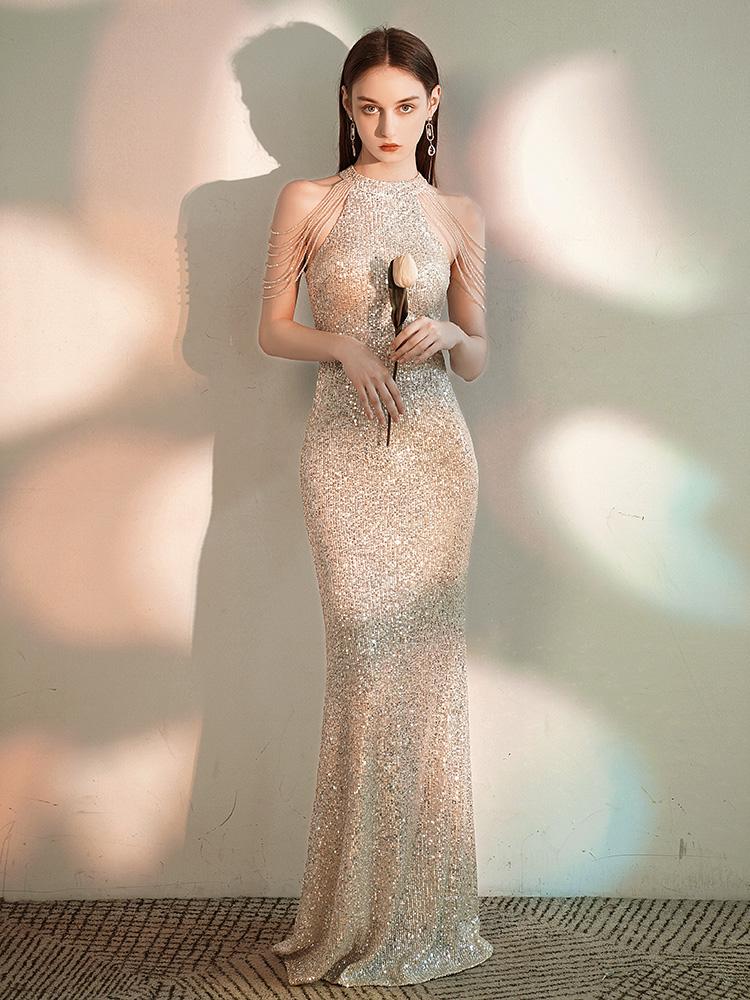 YIDINGZS Elegant Off Shoulder Beaded Sequin Evening Dress Women Sliver Party Bodycon Maxi Dress