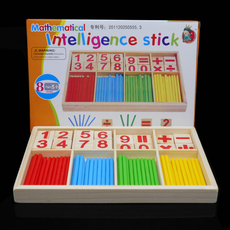 Montessori Wooden Number Math Game Sticks Box Educational Toy Puzzle Teaching Aids Set Materials Wood Toys Free Shipping