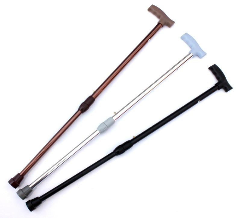 Thick Aluminium Alloy Retractable Crutches, 2-Section Telescopic Height-Adjustable Walking Stick Anti-Slip Elderly Walking Stick
